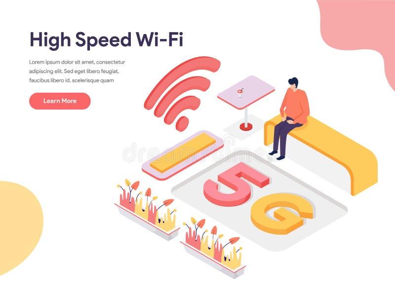 Conceito de alta velocidade da ilustração de Wi-Fi Conceito de projeto isom?trico do projeto do p?gina da web para o Web site e o ilustração stock