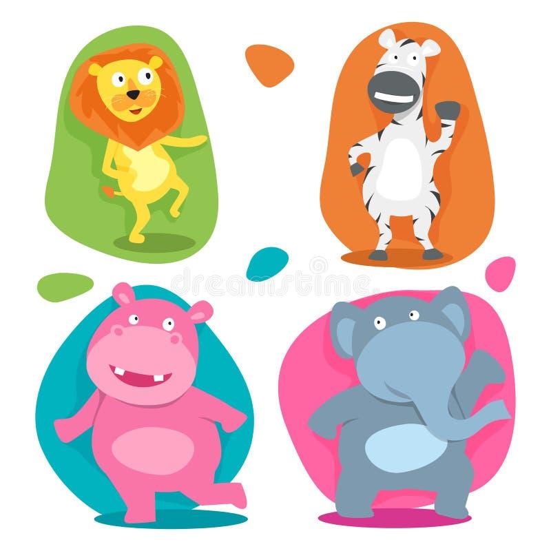 Conceito de animais selvagens engraçados bonitos dos desenhos animados ilustração royalty free