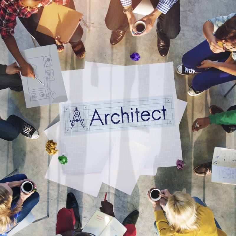 Conceito de Architecture Compass Construction do arquiteto imagens de stock royalty free