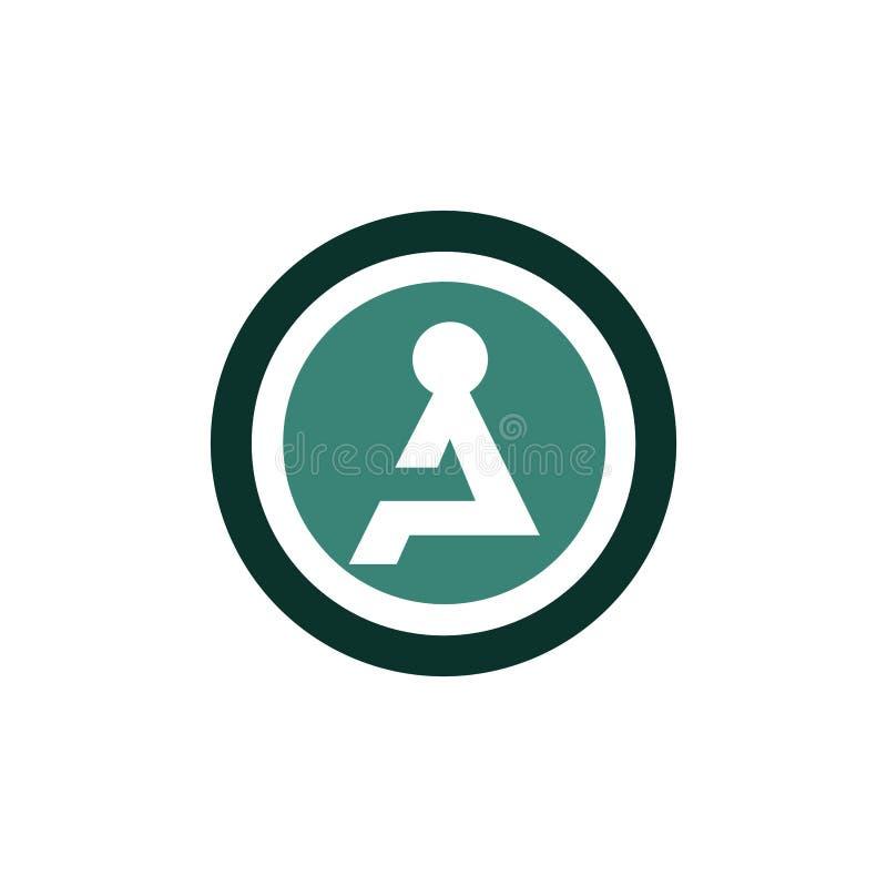 Conceito de assento do logotipo do ícone da pessoa ilustração stock