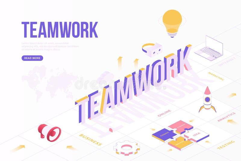 Conceito de banner da Web do Teamwork Modelo de design criativo com objetos isométricos e texto tridimensional com mapa mundial O ilustração royalty free