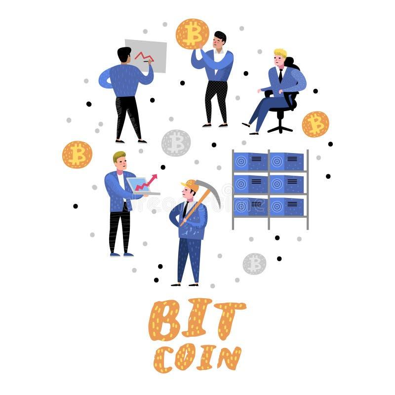 Conceito de Bitcoin com personagens de banda desenhada lisos Dinheiro virtual da moeda cripto Mineração de Bitcoin, finança eletr ilustração stock