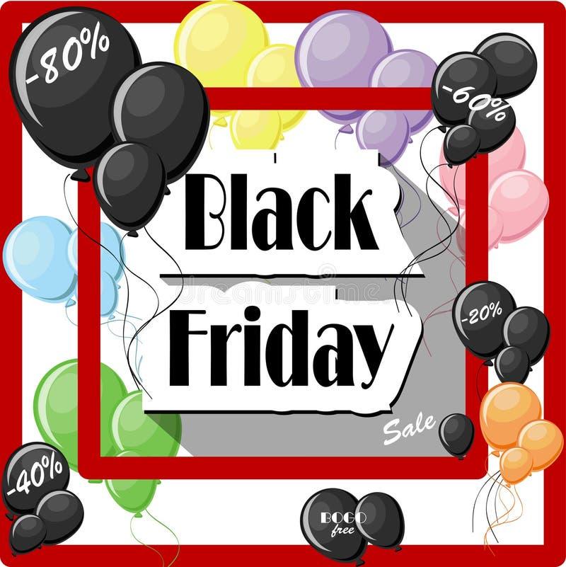 Conceito de Black Friday com balões coloridos e quadro vermelho quadrado ilustração stock
