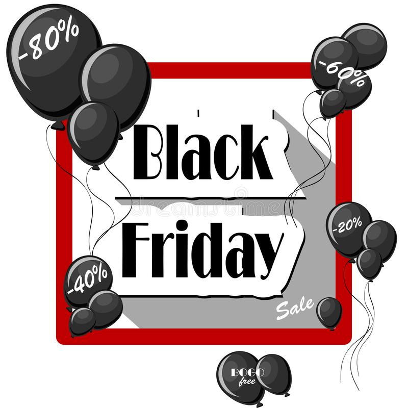 Conceito de Black Friday com balões pretos e quadro quadrado no fundo branco ilustração do vetor