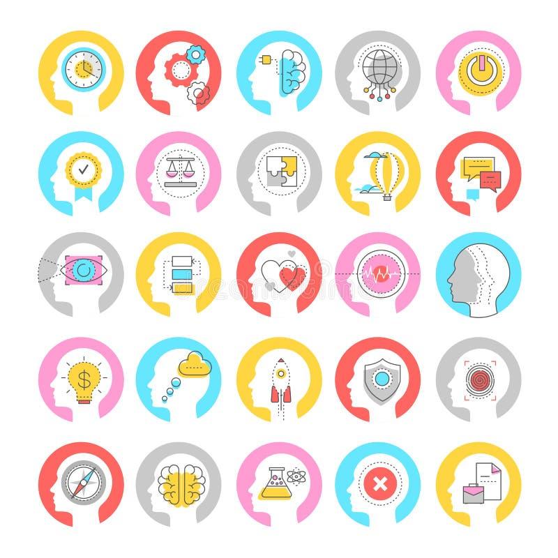 Conceito de brainstorming conjunto de ícones coloridos do vetor linear ilustração do vetor