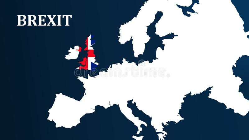 Conceito de Brexit Ilustração de Brexit com as bandeiras da UE e do Reino Unido ilustração stock