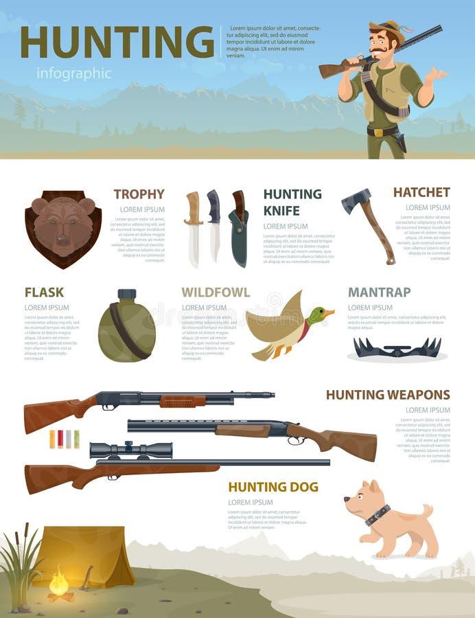 Conceito de caça colorido de Infographic ilustração do vetor