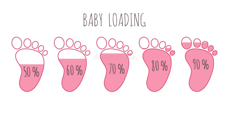 Conceito de carregamento do bebê com grupo cor-de-rosa completo da ilustração do vetor dos passos dos vários por cento ilustração stock