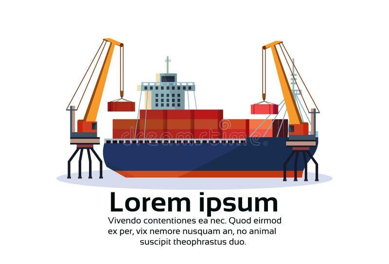 Conceito de carregamento do transporte da entrega da água do recipiente industrial da logística do guindaste da carga do navio do ilustração do vetor