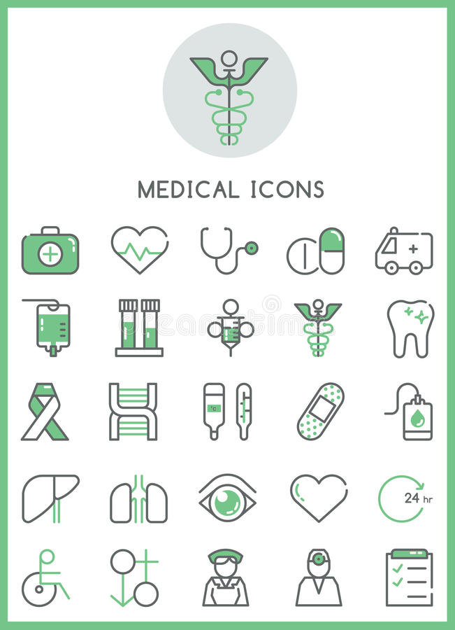 Conceito de cenografia médico dos ícones ilustração stock