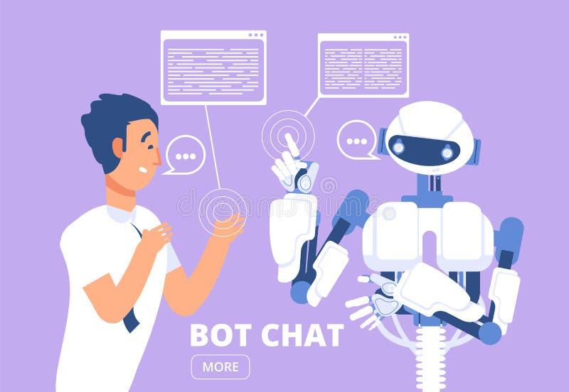 Conceito de Chatbot Homem que conversa com bot do bate-papo Ilustração do vetor do serviço de apoio ao cliente ilustração royalty free
