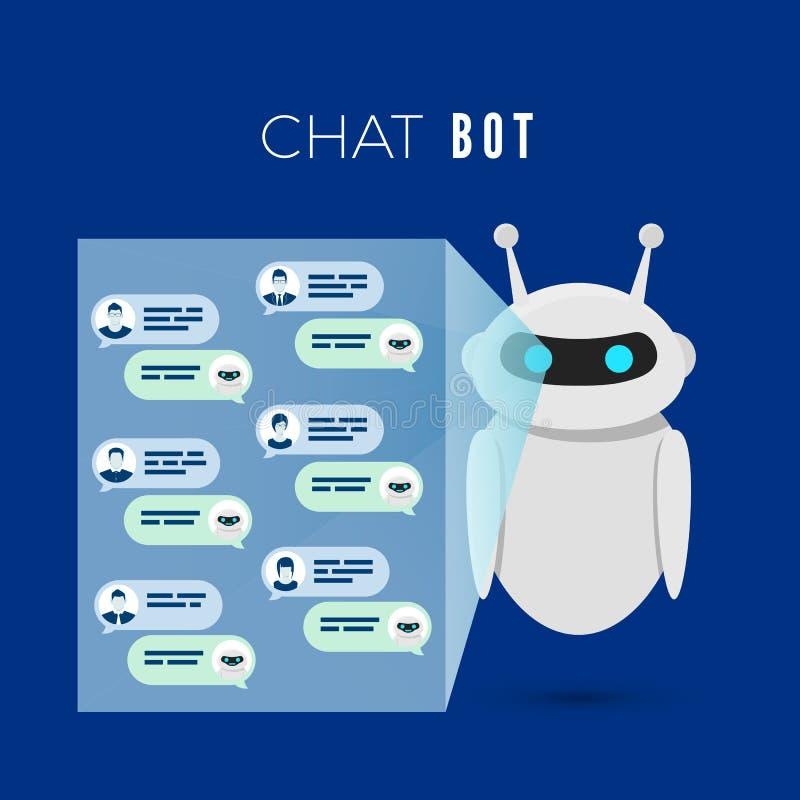 Conceito de Chatbot Os projetos do rob? uma tela com mensagens dos usu?rios e conduzem o di?logo com eles respondem ? pergunta Il ilustração royalty free