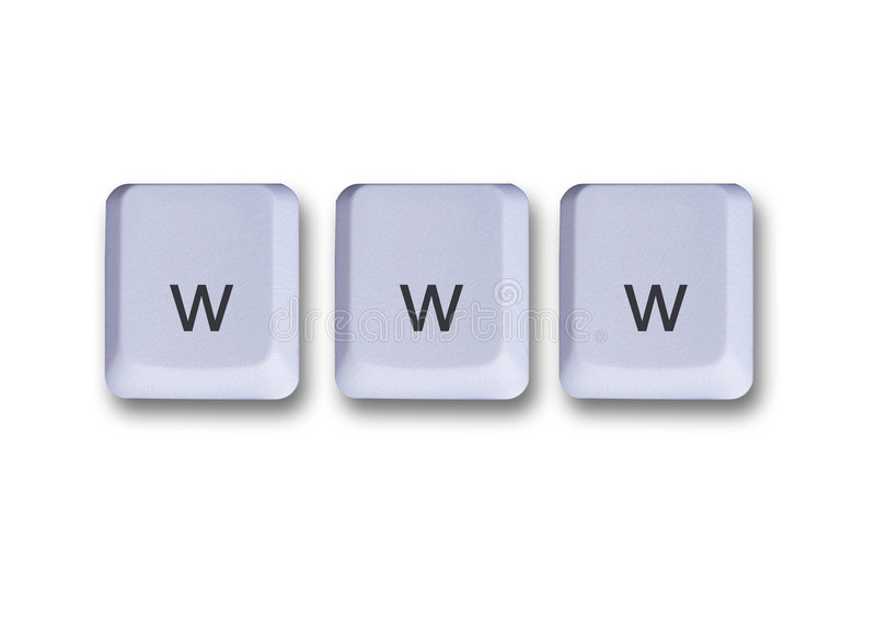 Conceito de chaves de WWW foto de stock