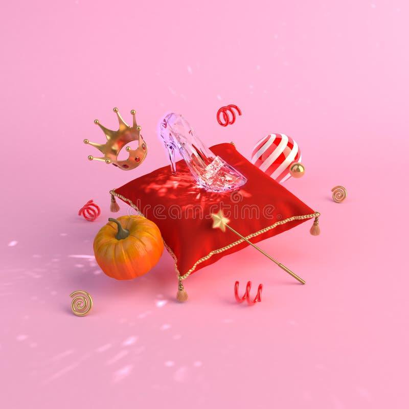 Conceito de Cinderella do conto de fadas no fundo 3d para render foto de stock