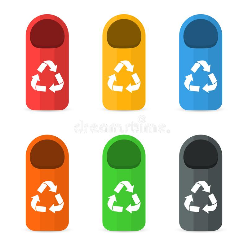 Conceito de classificação de classificação e de reciclagem Waste da gestão Recipientes e escaninhos coloridos do lixo ilustração stock