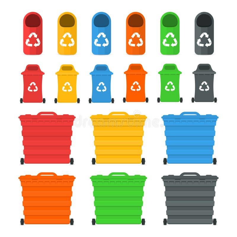 Conceito de classificação de classificação e de reciclagem Waste da gestão Recipientes e escaninhos coloridos do lixo ilustração do vetor
