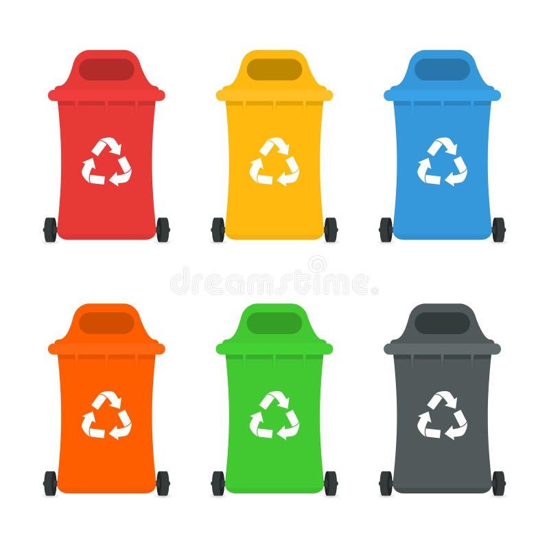 Conceito de classificação de classificação e de reciclagem Waste da gestão Recipientes e escaninhos coloridos do lixo ilustração royalty free