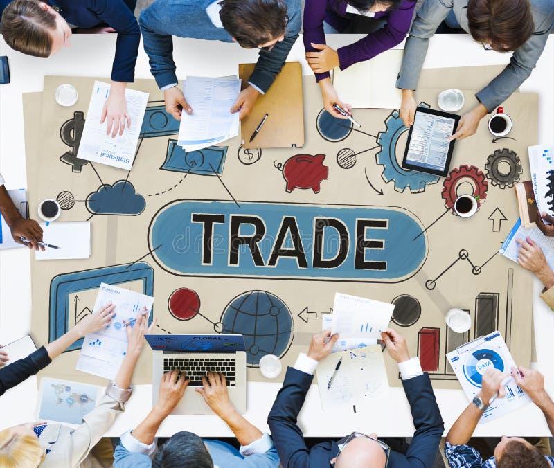 Conceito de comércio do comércio da mercadoria da troca do negócio da troca foto de stock