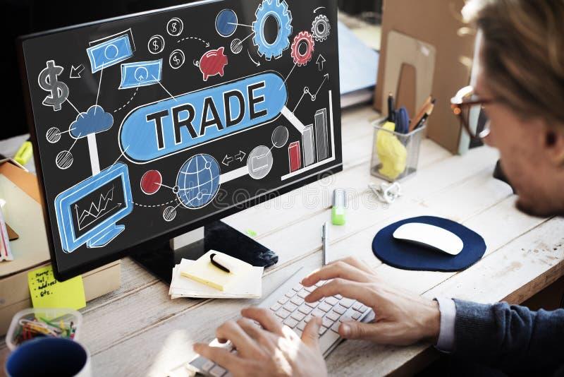 Conceito de comércio do comércio da mercadoria da troca do negócio da troca imagem de stock royalty free