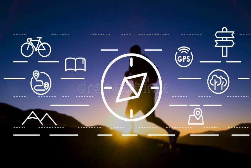 Conceito de Compass Orientation Travelling do navegador da navegação imagens de stock royalty free