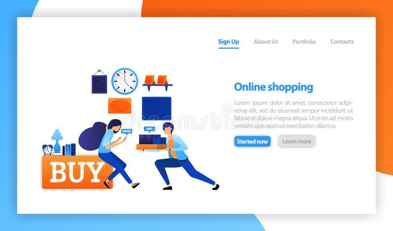 Conceito de compra em linha, conceito em linha do negócio da loja, comprando e vendendo em casa, entrega rápida dos bens e presen ilustração stock