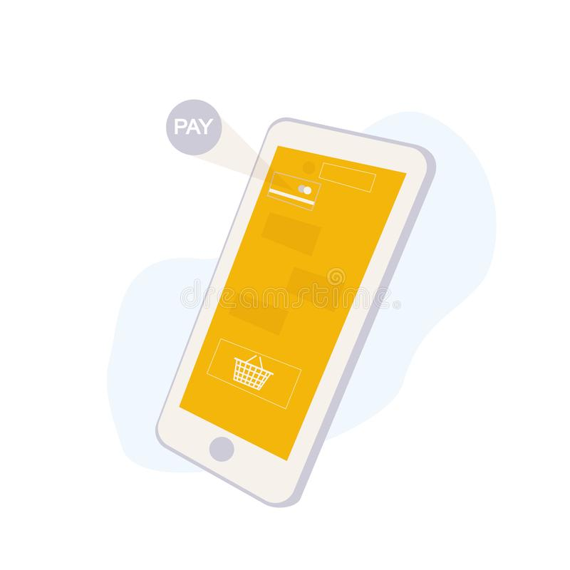 Conceito de compra em linha do serviço com Smartphone Relação móvel da aplicação com cesto de compras e pagar ícones do cartão so ilustração do vetor