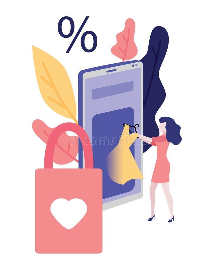 Conceito de compra em linha - mulher que toma o vestido do app da loja do Internet no smartphone grande ilustração stock