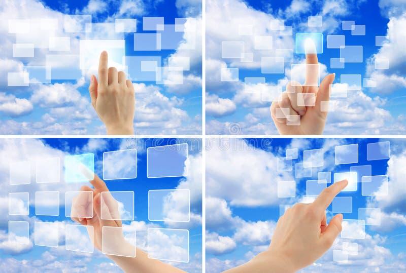 Conceito de computação da nuvem com mão da mulher imagens de stock royalty free