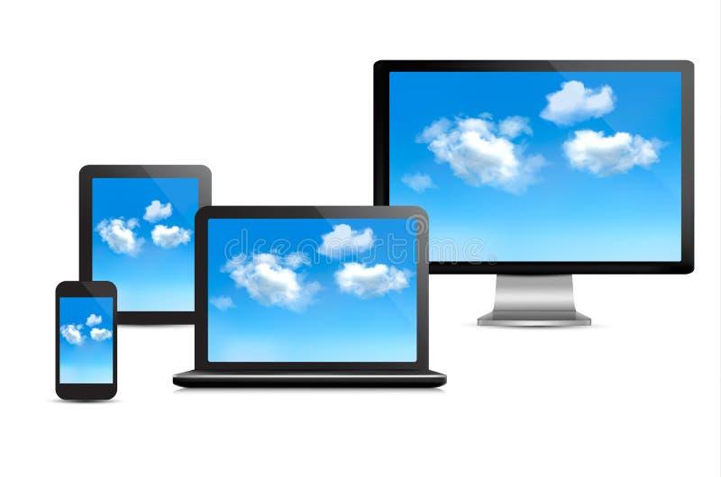 Conceito de computação da nuvem. Grupo de dispositivos do computador.