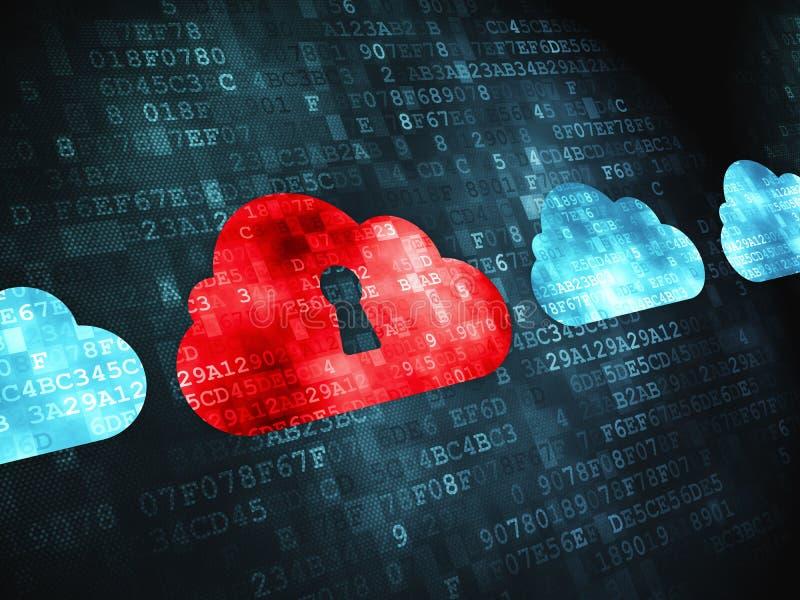 Conceito de computação da nuvem: Nuvem com buraco da fechadura sobre ilustração stock