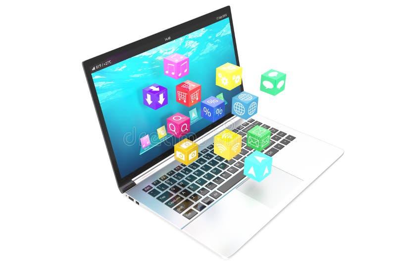 Conceito de computação da nuvem: portátil branco com dos ícones da aplicação da cor isolados no fundo ilustração 3D ilustração stock