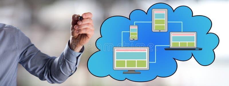 Conceito de computação da nuvem tirado por um homem imagem de stock