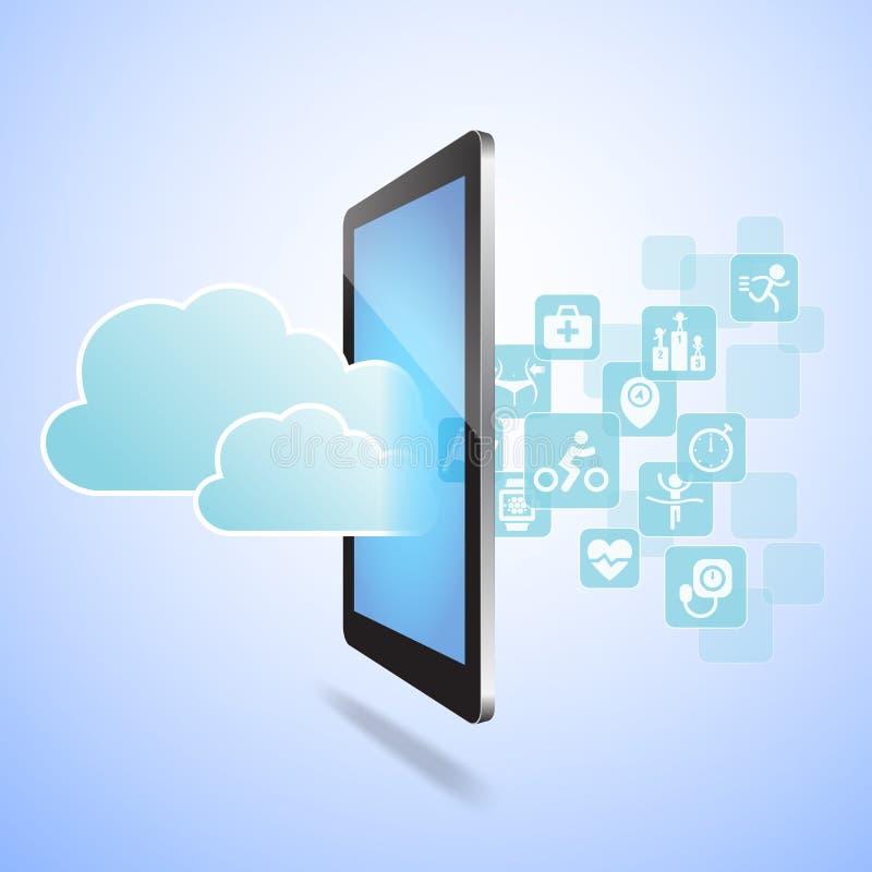 Conceito de computação da saúde e da nuvem ilustração do vetor