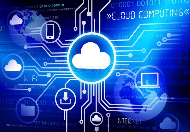 Conceito de computação de uma comunicação da informação da eletrônica da nuvem dos dados ilustração do vetor