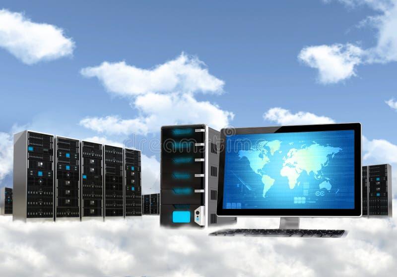 Conceito de computação do server da nuvem ilustração do vetor