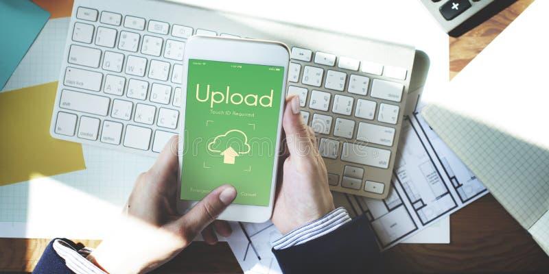 Conceito de computação dos dados da transferência da transferência de arquivo pela rede dos trabalhos em rede da nuvem imagem de stock royalty free
