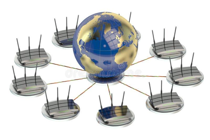 Conceito de computação dos trabalhos em rede ilustração do vetor