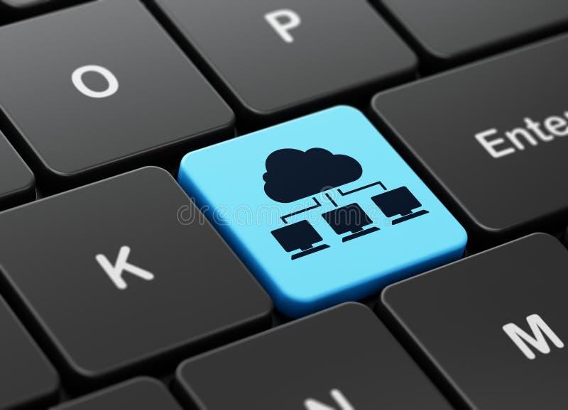 Conceito de computação: Rede da nuvem no fundo do teclado de computador