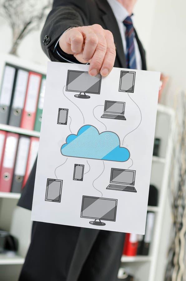 Conceito de computa??o da nuvem mostrado por um homem de neg?cios fotografia de stock royalty free