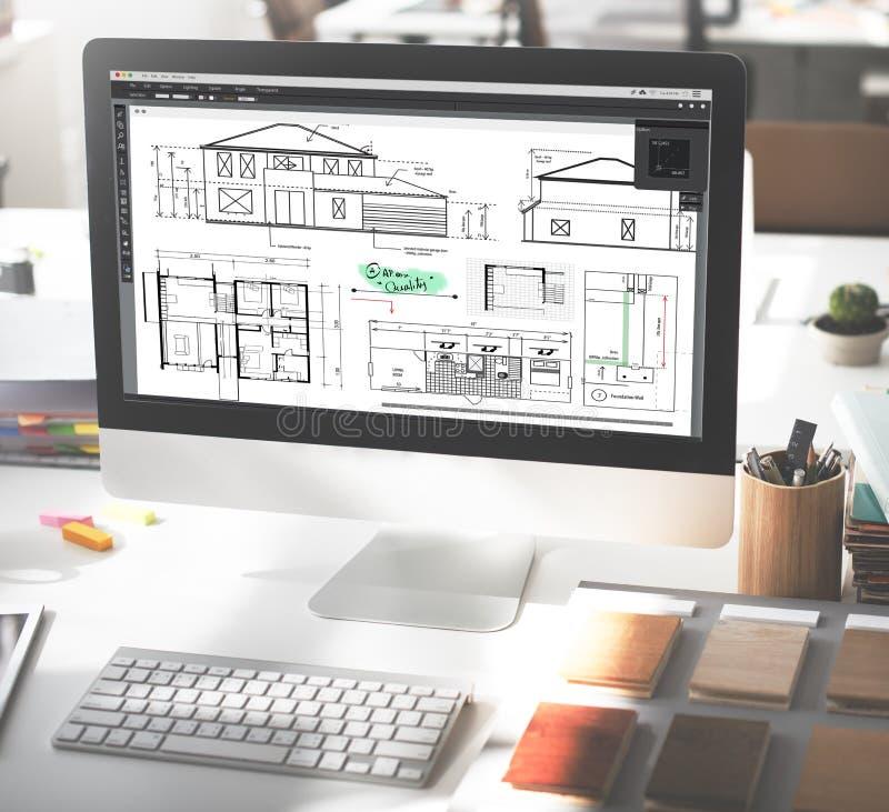 Conceito de Construction Project Sketch do arquiteto do modelo fotos de stock royalty free