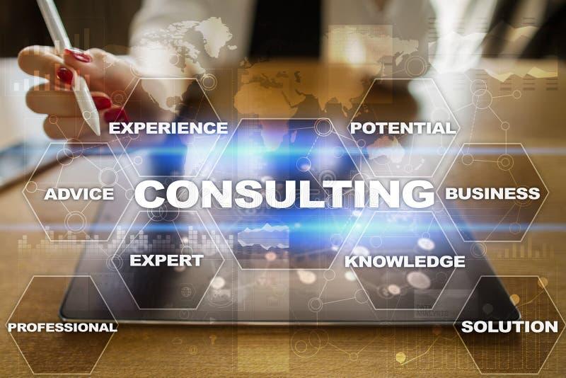 Conceito de consulta do negócio Texto e ícones na tela virtual imagem de stock
