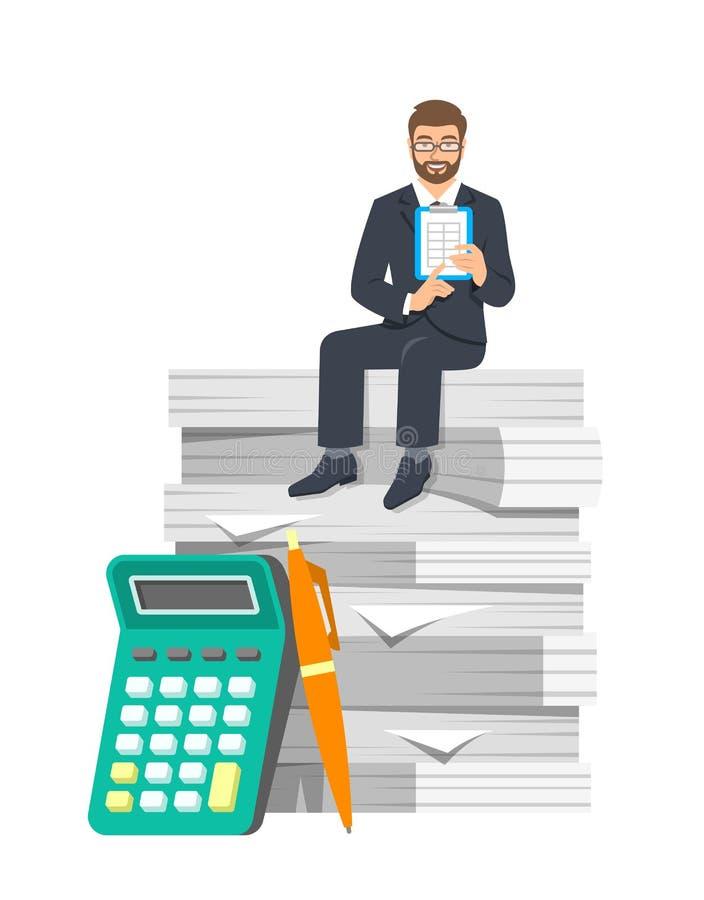 Conceito de contabilidade do cálculo do pagamento de imposto ilustração stock