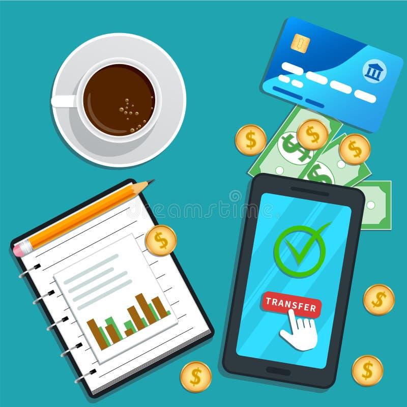 Conceito de contabilidade Pagamento em linha Smartphone liso com o botão de clique de transferência do ponteiro do cursor na tela ilustração stock