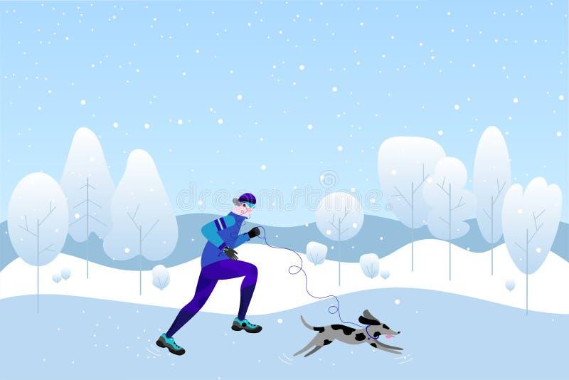 Conceito de corrida do inverno Homem atlético novo com o cão que faz movimentar-se Ilustração do vetor no estilo liso ilustração do vetor