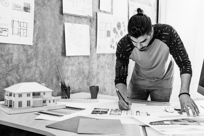 Conceito de Creative Occupation Blueprint do arquiteto do estúdio do projeto imagens de stock
