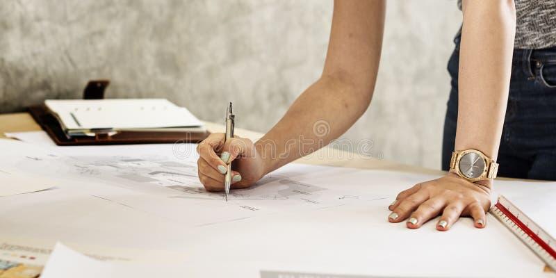 Conceito de Creative Occupation Blueprint do arquiteto do estúdio do projeto imagens de stock royalty free