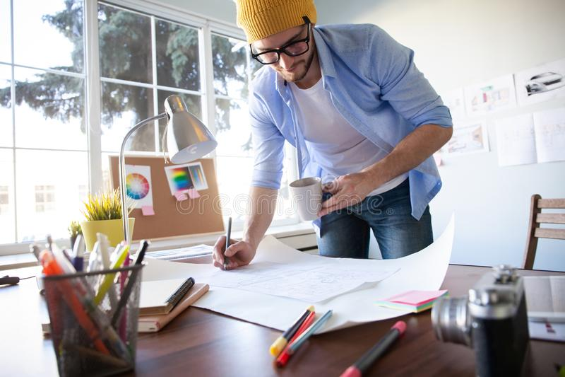 Conceito de Creative Occupation Blueprint do arquiteto do est?dio do projeto fotos de stock royalty free