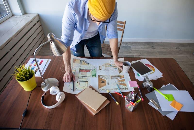 Conceito de Creative Occupation Blueprint do arquiteto do est?dio do projeto foto de stock royalty free