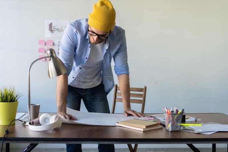 Conceito de Creative Occupation Blueprint do arquiteto do est?dio do projeto fotografia de stock royalty free