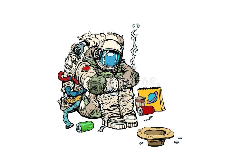Conceito de Crowdfunding Um astronauta desabrigado pobre pede o dinheiro ilustração stock